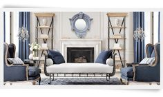 Love the shelves on each side of fireplace. Like this shade of blue.