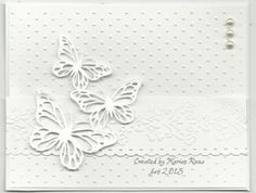 I made this card using TLC516, first time in a long time I did this challenge. I cut the butterflies out with my Silhouette Cameo die cutting machine, they are set on dimensionals.. The EF are from Cuttlebug. The border punch is from Martha Stewart. The cross strip of paper is embossed with a EF from Papercrafting magazine.