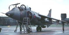 A Harrier T.4 is made ready for the pilot and waits on standby on the apron at a British military airbase. - Image - Airforce Technology