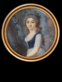 Augustin Dubourg, Lady in Blue-White Gown, approx. 1795
