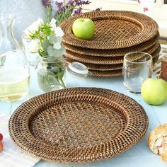 A delightful set of six rattan charger plates perfect for everyday dinnerware,Protect your table and add texture to your dining arrangements with this set of six hand-woven rattan charger plates. Sized perfectly to hold standard sized dinner plates, they are perfect for casual alfresco dining during the warm summer months but are also ideal for formal occasions to add a touch of colour and texture to your existing table arrangements.Rattan.Diameter 33cm.