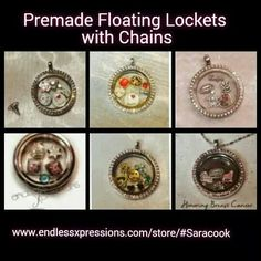 Premade Floating Lockets with Chains $26.95 huge variety including shown, Nurse, Frozen, Teacher, Breast Cancer Awareness,  Autism Awareness,  and Beach Scene.  Ask me for a discount code! www.endlessxpressions.com/store/#Saracook Email: saracok28@gmail.com