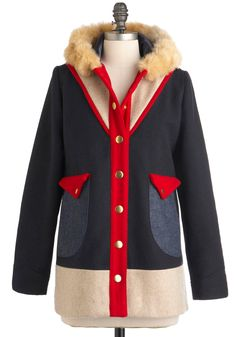 Lauren Moffatt Small Town Charm Coat by Lauren Moffatt - Long, Blue, Red, Tan / Cream, Buttons, Pockets, Casual, Long Sleeve, Color Block, Winter, 4