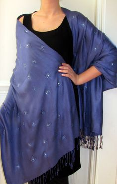 I feel midnight blue shawls are a must have for any woman's stylish wardrobe - so classy! Unique gift idea too.
