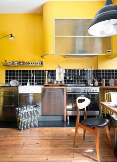 Yellow house on the beach: Modern. vintage and color