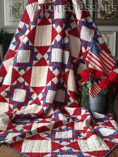 259669c7cf8b Fantastic Patriotic Americana! ANTIQUE c1880 Red White Blue Stars QUILT  78x62