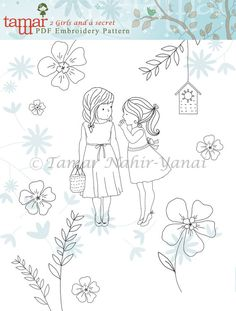 Embroidery Pattern Instant Download 2 Girls by TamarNahirYanai