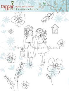 Embroidery Pattern Pdf Pattern 2 Girls and a secret by TamarNahirYanai