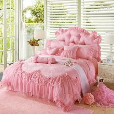 Pink Jacquard Silk Princess Style bedding set 4pcs silk Lace Ruffles duvet cover…