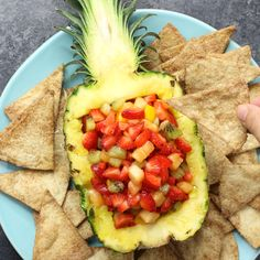 Quick and easy Fruit Salsa with Cinnamon Chips – delicious fruit salsa with ., Quick and easy Fruit Salsa with Cinnamon Chips – delicious fruit salsa with crispy and sweet cinnamon chips. It comes together in no time. It's a grea. Salsa Aux Fruits, Fruit Salsa, Fruit Slime, Mango Fruit, Sour Fruit, Fruit Kabobs, Eat Fruit, Fruit Recipes, Appetizer Recipes