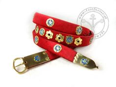 145AM Medieval belt - trimmed with silk velvet - with mounts :: Lorifactor.com
