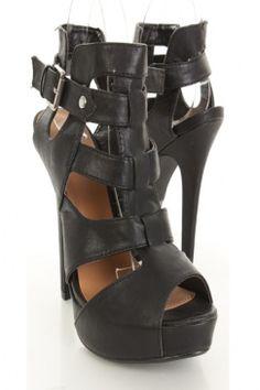 Black Faux Leather Cut Out Peep Toe Heels $34