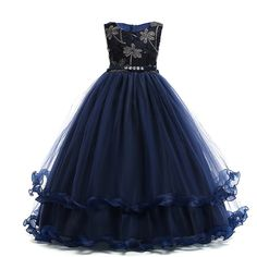 Check out this Girls Embroidered Rhinestone Lettuce Trim Layered Ruffle Big Bow Gown Dress on Shein and explore more to meet your fashion needs! Girls Dresses, Prom Dresses, Formal Dresses, Girls Party Wear, Princess Dress Kids, Wedding Girl, Girl Sleeves, Embroidery Dress, Costume Dress