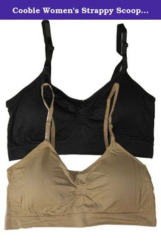 Coobie Women's Strappy Scoopneck Bra, One Size, Black/Nude. Coobie Strappy Scoopneck Bras are ultra comfortable and supportive. They provide shape and support and may be worn in place of a camisole or tank top. The Coobie Bras fits almost every body. Product Features: Seamless No wire, soft cup bra One size fits almost every body Comfortably fits sizes 32A to 36D Back is smooth (no no hooks or clasps) Removable pads Adjustable straps Scoopneck Ultra comfortable Ruching at center for bust...