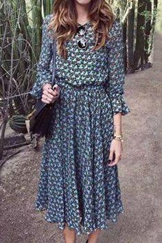 Trendy Long Sleeve Print Scoop Neck Dress For Women