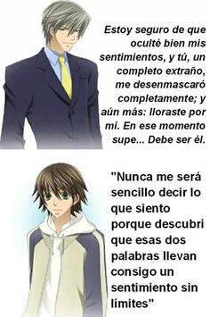 Vamos con las frases mas presentadas #JunjouRomantica Animes Yandere, Deku Boku No Hero, Love Stage, Anime Lindo, Nisekoi, Beautiful Stories, Anime Ships, Fujoshi, Anime Love