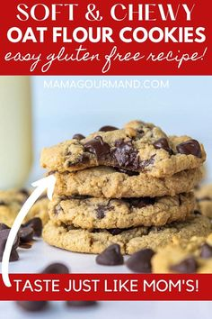 Oat Flour Cookies, Gluten Free Chocolate Chip Cookies, Oatmeal Chocolate Chip Cookies, Cookies Et Biscuits, Oat Flour Muffins, Flourless Chocolate Chip Cookies, Oatmeal Flour, Oat Cookie Recipe, Healthy Cookie Recipes