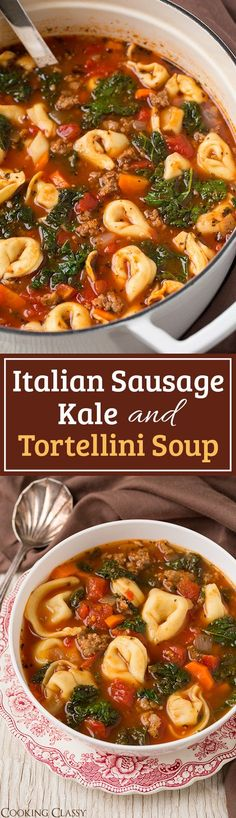 Kale and Tortellini Soup Italian Sausage, Kale and Tortellini Soup - easy, hearty and loved the flavor! Perfect for cold weather!Italian Sausage, Kale and Tortellini Soup - easy, hearty and loved the flavor! Perfect for cold weather! Kale Recipes, Soup Recipes, Dinner Recipes, Healthy Recipes, Slow Cooker Recipes, Crockpot Recipes, Cooking Recipes, Sausage Recipes, Vegan Recipes