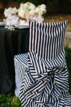 Black and white chair covers for head table or sweetheart table