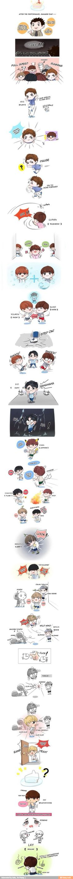 exo cute fanart omg i thought tao  would win but forgot about kai's teleporting XD