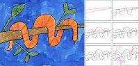 Draw a Wrap Snake (Art Projects for Kids) Art Lessons For Kids, Art Lessons Elementary, Art For Kids, Drawing Projects, Drawing Lessons, Art Handouts, Snake Art, Snake Drawing, 2nd Grade Art