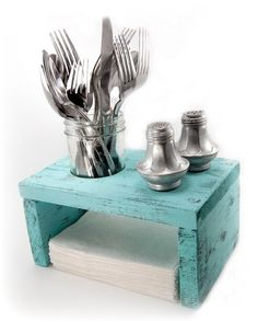 Napkin Holder Wood Primitive Table Organizer Light Turquoise In Stock