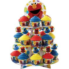 1 X SESAME STREET ELMO CUPCAKE STAND HOLDS 24 CUPCAKES *** For more information, visit image link.