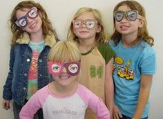 April Fool's Day Eye Glasses. Cut out funny photos of eyes and glue inside my eyeglass template. #artprojectsforkids