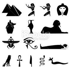 egyptian symbols of royalty | Egypt symbols silhouettes Royalty Free Stock Vector Art Illustration