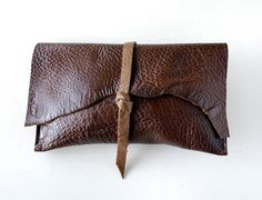 Leather Clutch - RUSTIC with Raw Edge - Pebble Coffee Brown