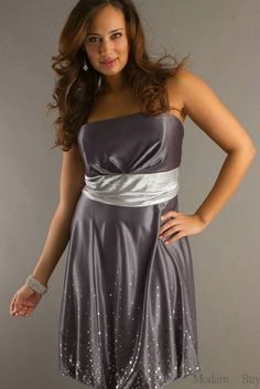 yellow and grey plus size dresses | ... Spaghetti Straps Natural Waist Grey Plus Size Short Dresses 2012