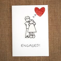 Engagement Card Engaged   A handmade greeting by tickledinkcards, €3.00