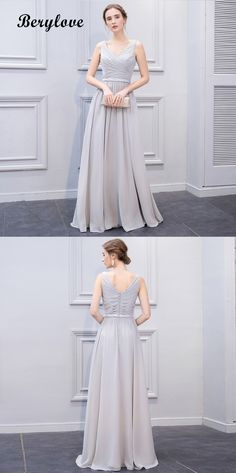 c2e35d2b8a8 Elegant Long Sliver Grey Chiffon Evening Dresses promdresses promgowns  eveningdresses eveninggowns