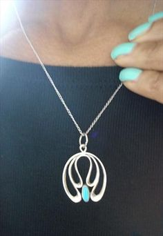Vintage 70s Sterling Silver Navajo Turquoise Tribal Necklace  ((Love this color)) TRIBAL