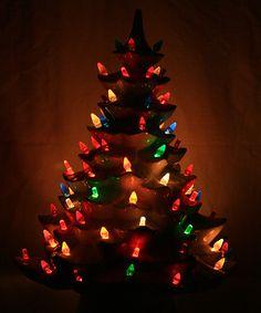 vintage 18 12 inches white ceramic christmas tree with lighted base - Ceramic Christmas Lights