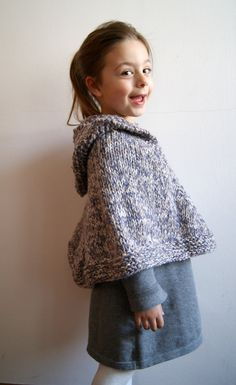 Knitted poncho with hood by knittingcate on Etsy, $42.00