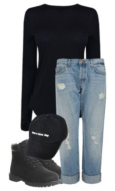 """Ootd"" by rejected-outcast ❤ liked on Polyvore featuring Helmut Lang, Timberland and J Brand"