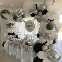 Black & White birthday setup by with an amazing balloon garland and Amalfi Décor white cake stands Balloon Garland, Balloon Decorations, Balloons, Balloon Ideas, White Dessert Tables, White Desserts, Black Gold Party, Dessert Stand, Cake Stands