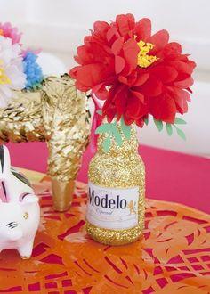 Fun Cinco de Mayo Party Decoration DIYs   Glitter Modelo Centerpieces