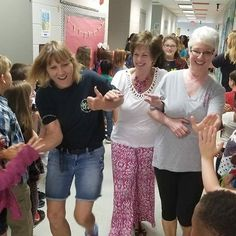 Leading the Fifth Grade parade were 3 of our Retirees.  Congratulations ladies! We wish you much happiness and lots of rocking chair time! #officiallyretired