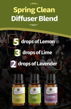 Spring Clean Essential Oil Diffuser Blend.  5 drops of lemon essential oil. 3 drops of Lime essential oil. 2 drops of Lavender essential oil.  Place in your diffuser and enjoy the spring clean aroma.