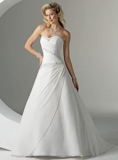 A-line Strapless Empire Chapel Train Satin Wedding Dresses