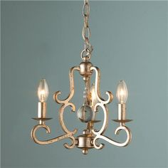 Crystal Drop Mini Chandelier in aged silver (though looks more golden) from Shades of Light - $239 - for bedroom hallway?