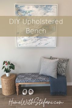 This DIY upholstered bench is one of my favorite DIY projects! No sew, easy to follow.  #DIYBench #DIYUpholsteredBench #UpholsteredBench #DIYCushion