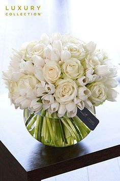 White roses & tulips centerpiece