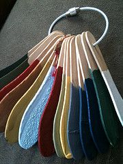 Keep track of your colors used in your home by useing ice crean spoons from the craft store dipped into your paint. when dry write color name and number etc. on one side of spoon.