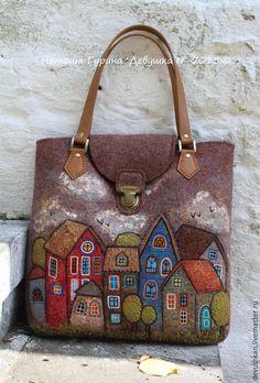 """Купить Сумка """"В городе N"""" - коричневый, рисунок, сумка, сумка ручной работы"""