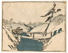 BJO Nordfeldt: Crossing the bridge. Woodcut 1906