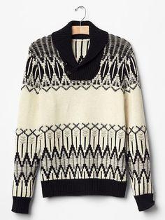 Men GAP Fair Isle Shawlneck Sweater Lambs Wool Nylon Black White S M 125338 $82 #GAP #Shawl
