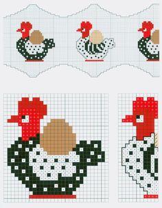 1 of 2 Cross Stitch Borders, Cross Stitch Charts, Cross Stitch Designs, Cross Stitching, Cross Stitch Embroidery, Cross Stitch Patterns, Rooster Cross Stitch, Chicken Cross Stitch, Cross Stitch Kitchen